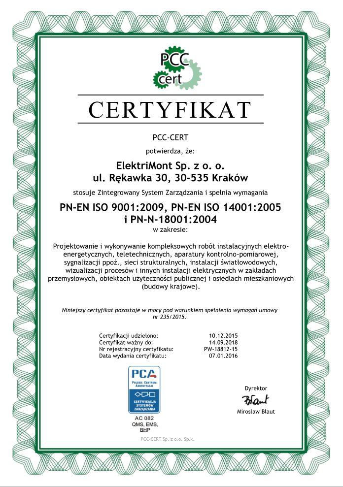 Certyfikat ISO 2016